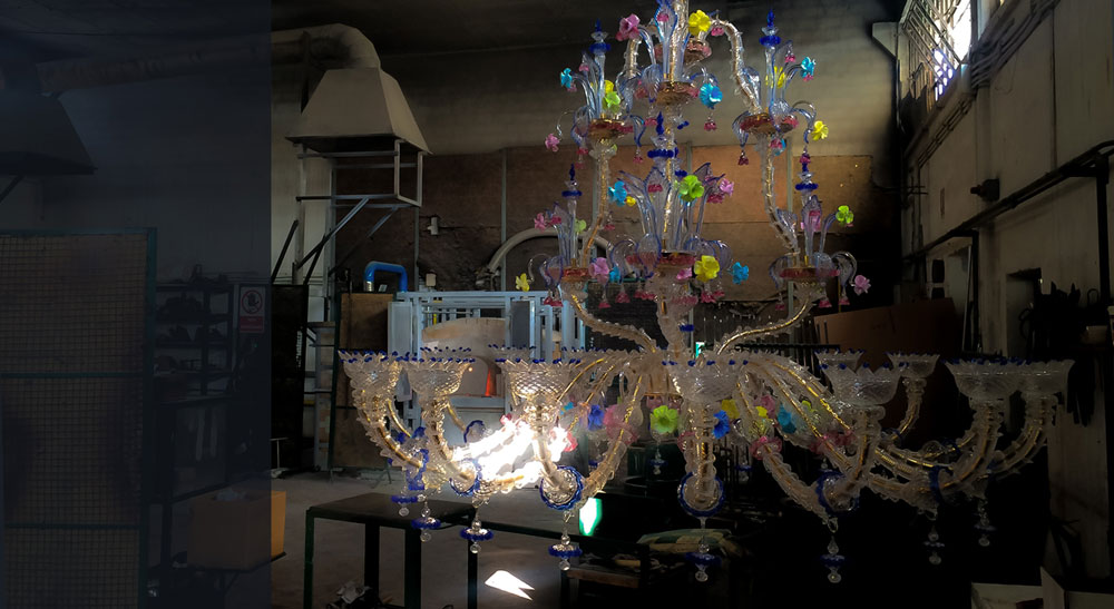 fabbrica lampadari murano prodotti da Bottega Veneziana con vetro di murano