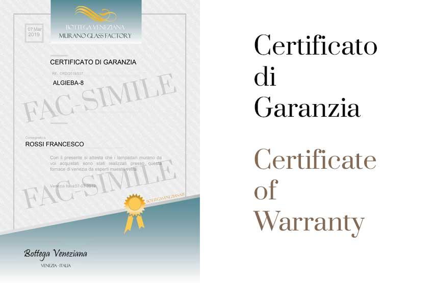 Certificato di GARANZIA ed ORIGINE. Realizzato interamente a Venezia ITALIA