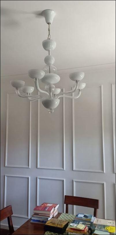 Bottega Veneziana | Lampadario moderno bianco in vetro soffiato di Murano modello BUCANEV