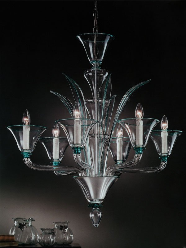 Bottega Veneziana | Lampadario in vetro soffiato di Murano modello LAURO colore cristallo