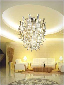 Bottega Veneziana | Lampadario moderno modello  ISADORA  in vetro di Murano cristallo amb
