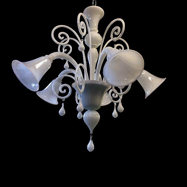 Bottega Veneziana | Lampadario di Murano moderno in vetro soffiato di Murano bianco model