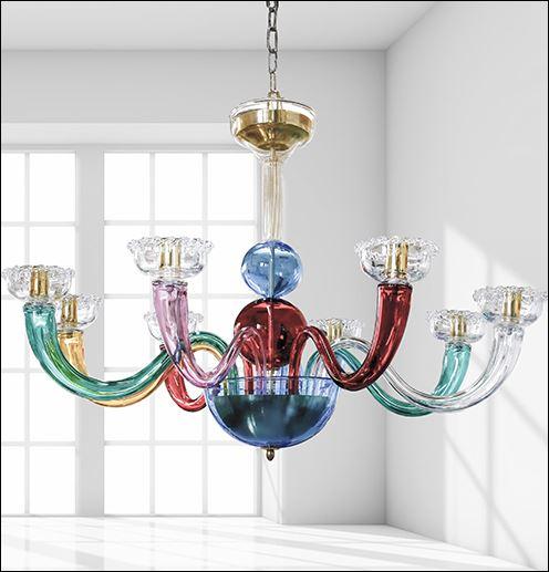 Bottega Veneziana   Lampadario moderno in vetro soffiato di Murano modello COLOR. Realizz