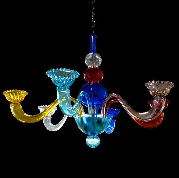 Bottega Veneziana | Lampadario modello  COLOR in vetro soffiato Murano