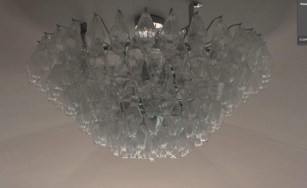 Bottega Veneziana | Plafoniera Vintage Piastra POLIEDRI-PLAF a 8 Luci H.40 D.90 Cristallo Cristallo